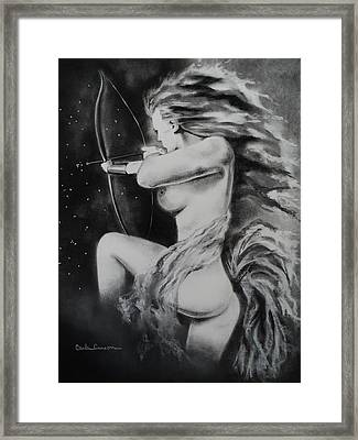 Firey Sagittarius Shooting Stars Framed Print