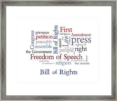 First Amendment - Bill Of Rights Framed Print