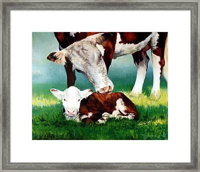 First Bath Framed Print by Valerie Aune