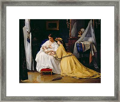 First Born Framed Print by Gustave Leonard de Jonghe