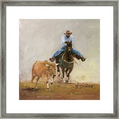 First Bulldogger Bill Picket Oil Painting By Kmcelwaine  Framed Print