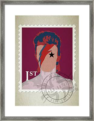 First Class Bowie - Red Framed Print