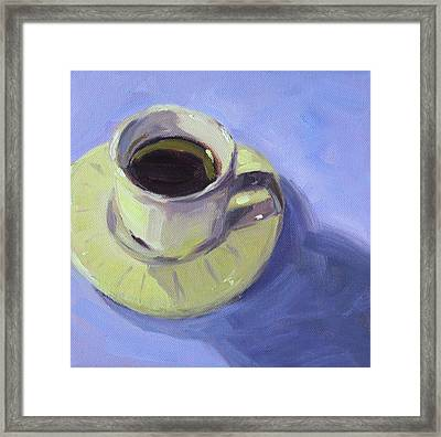 Framed Print featuring the painting First Cup by Nancy Merkle
