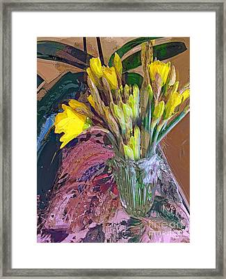 Framed Print featuring the digital art First Daffodils by Alexis Rotella