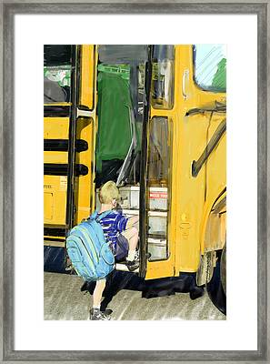 First Day Bus Ride Framed Print by Ken Gimmi