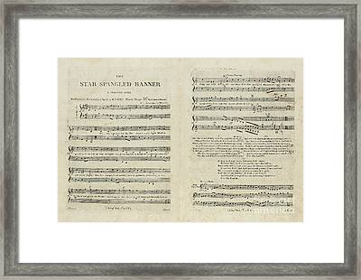 First Edition Of The Sheet Music For The American National Anthem Framed Print