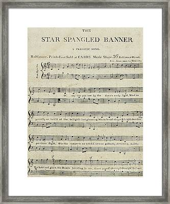 First Edition Of The Sheet Music For The Star Spangled Banner Framed Print by American School