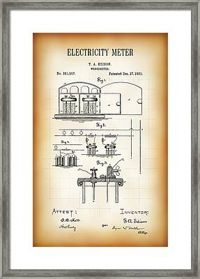 First Electricity Meter Patent 1881 Framed Print