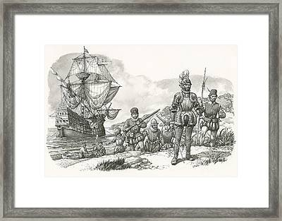 First Europeans Arriving In California  Framed Print by Pat Nicolle