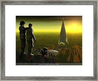 First Evening On Colony Planet Framed Print by Jim Coe