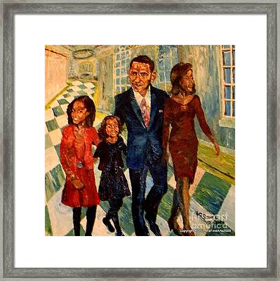 First Family Obama's Framed Print by Keith OBrien Simms