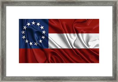 First Flag Of The Confederate States Of America - Stars And Bars 1861-1863 Framed Print