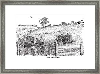 Framed Print featuring the drawing First Hay Crop by Jack G  Brauer
