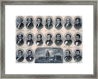 First Hundred Years Of American Presidents Framed Print by American School