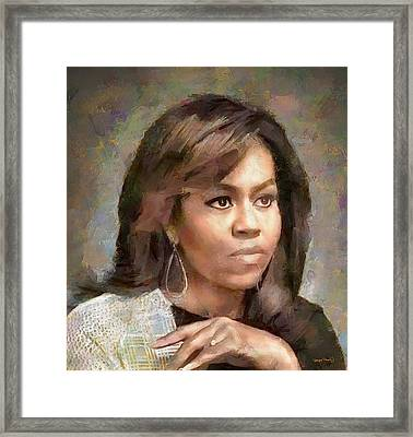 First Lady Michelle Obama Framed Print by Wayne Pascall