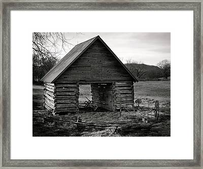 First Light At The Barn In Black And White Framed Print