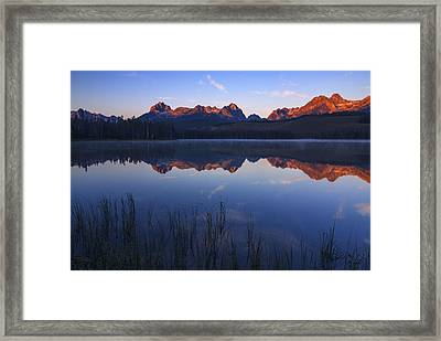 First Light Illuminating Sawtooth Mountains Stanley Idaho Framed Print