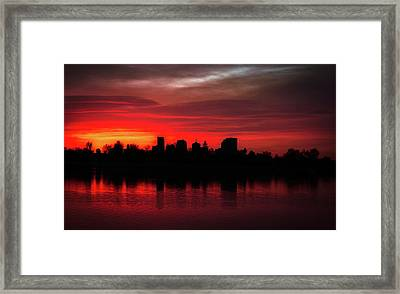 First Light In Denver Framed Print
