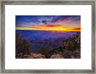 First Light In The Canyon Framed Print