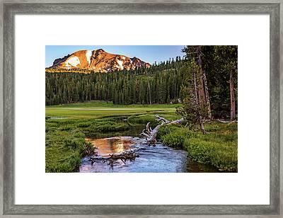 First Light On Lassen From Upper Meadow Framed Print