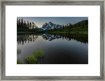 First Light On Picture Lake Framed Print