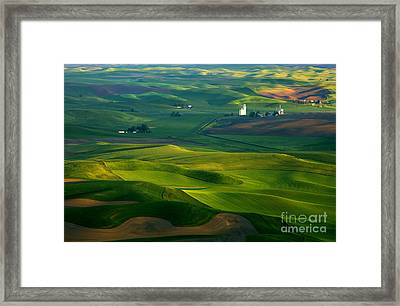 First Light On The Palouse Framed Print by Mike  Dawson