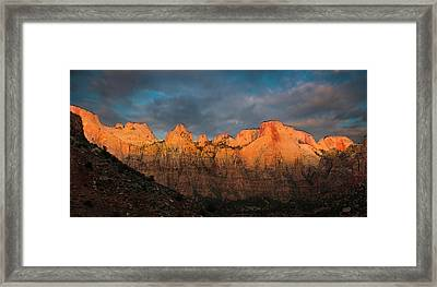 First Light On The Towers - Zion N.p.  Framed Print