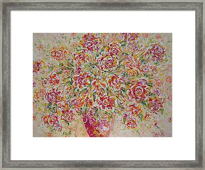Framed Print featuring the painting First Love Flowers by Natalie Holland