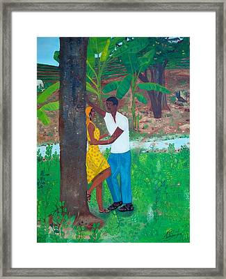 Framed Print featuring the painting First Love by Nicole Jean-louis