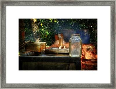 First Run Of Moonshine Framed Print by Greg and Chrystal Mimbs