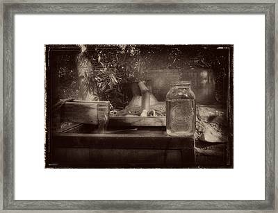 First Run Of Moonshine In Black And White Antiqued Framed Print