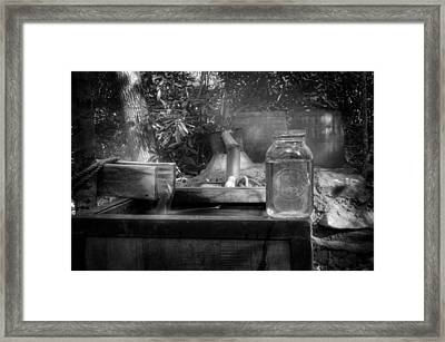 First Run Of Moonshine In Black And White Framed Print