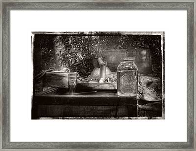 First Run Of Moonshine In Black And White With Border Framed Print