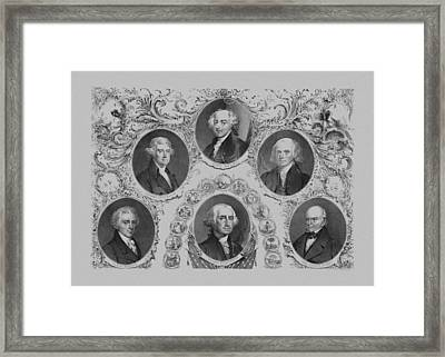 First Six U.s. Presidents Framed Print