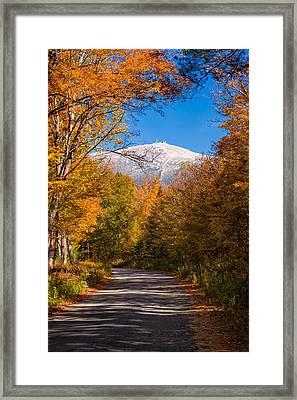 First Snow And Fall Foliage Mount Washington Framed Print