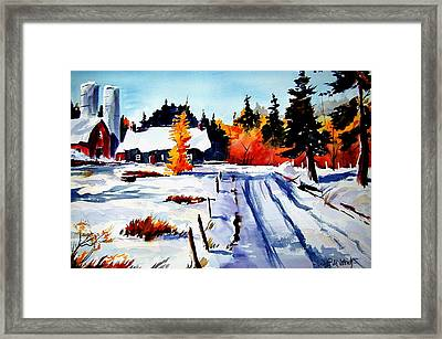 First Snow And Last Of Fall Framed Print by Wilfred McOstrich