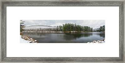 First Snow At Lake Nawahunta Framed Print by Angelo Marcialis