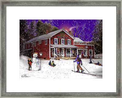First Snow At The South Woodstock Country Store Framed Print by Nancy Griswold