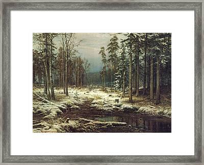 First Snow Framed Print by Ivan Ivanovich Shishkin