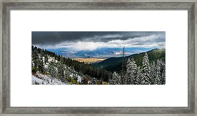 First Snow, Jackson From Teton Pass Framed Print