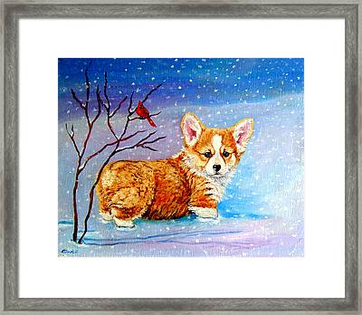 First Snow Framed Print by Lyn Cook