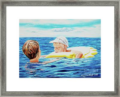 First Swimming - Nadar Primero Framed Print