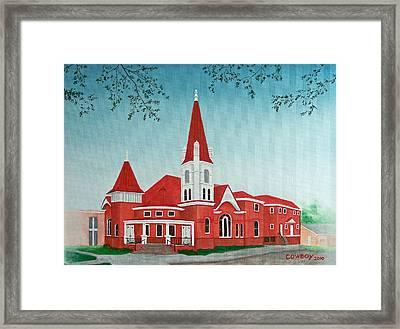 First United Methodist Church  Terrell Tx Framed Print by Darren Yarborough