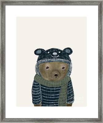 Framed Print featuring the painting First Winter Bear by Bri B