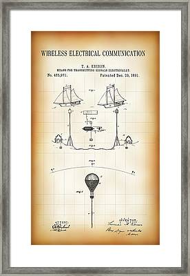 First Wireless Communication Network Patent  1891 Framed Print by Daniel Hagerman