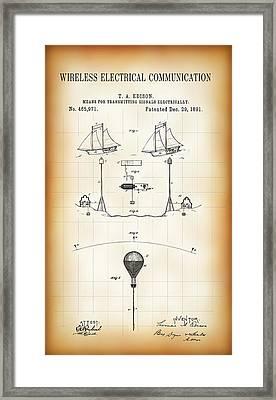 First Wireless Communication Network Patent  1891 Framed Print