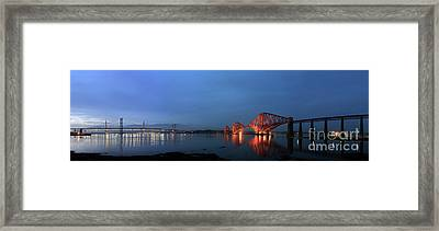 Firth Of Forth Bridges At Twilight - Panorama Framed Print by Maria Gaellman