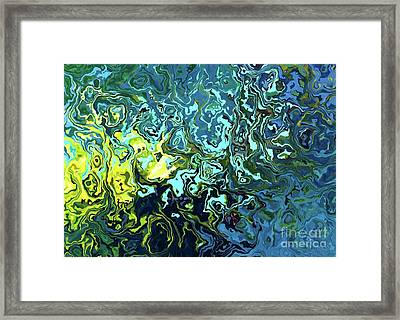 Framed Print featuring the digital art Fish Abstract Art by Annie Zeno