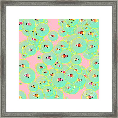Fish And Bubbles Framed Print