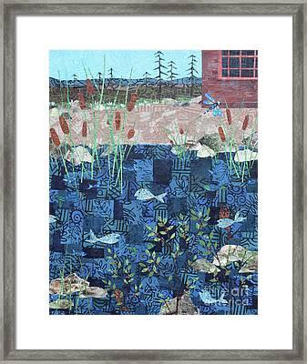 Fish And Dragonfly Framed Print by Janyce Boynton